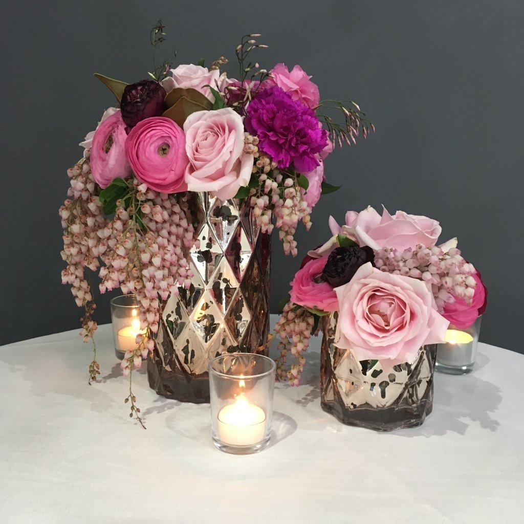 rose gold geometric vases weddings of distinction. Black Bedroom Furniture Sets. Home Design Ideas