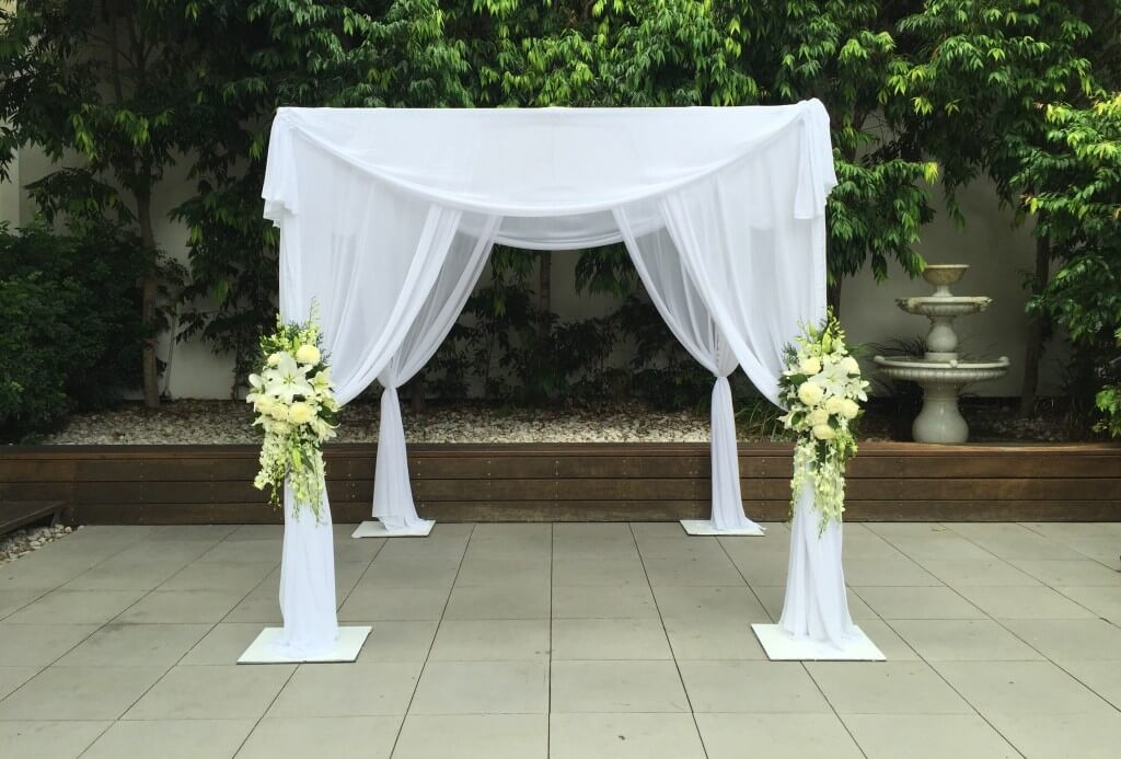 deluxe canopy with curtain draping weddings of distinction. Black Bedroom Furniture Sets. Home Design Ideas